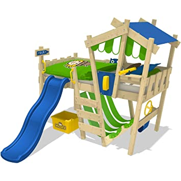 Kinderhochbett mit rutsche selber bauen  WICKEY Kinderbett mit Rutsche CrAzY Hutty Hochbett mit Dach ...