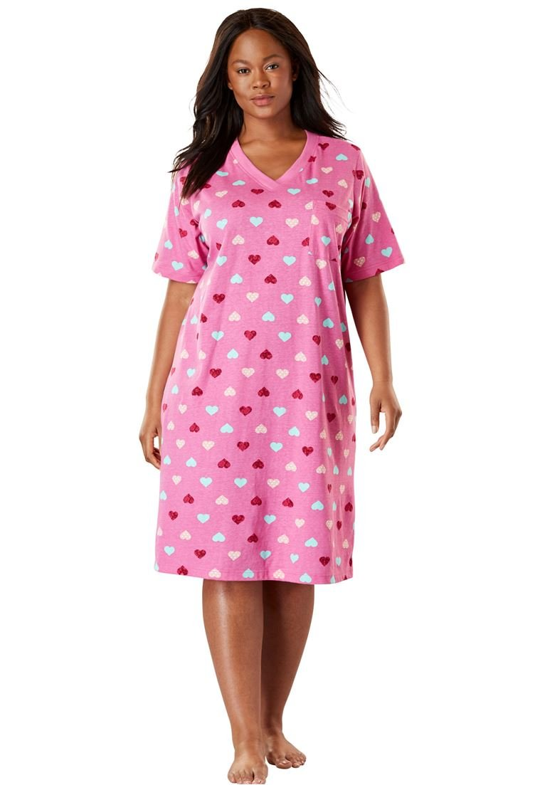 Dreams & Co. Women's Plus Size Print Sleepshirt Pink Heart,5X/6X