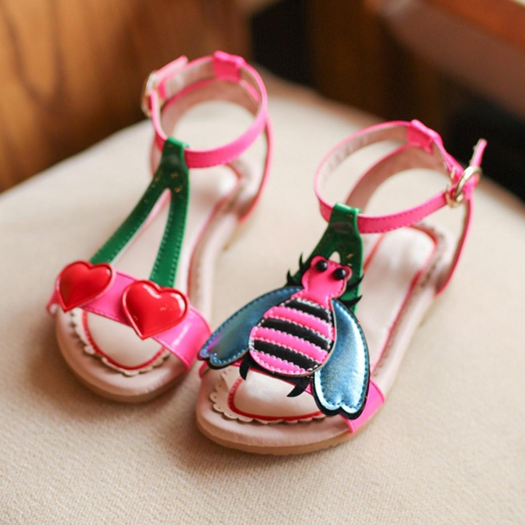 ce2d2a53d80f1 Amazon.com  FAPIZI Clearance Toddler Kids Baby Girls Princess Roman Single  Shoes Heart Cartoon Beach Sandals  Clothing