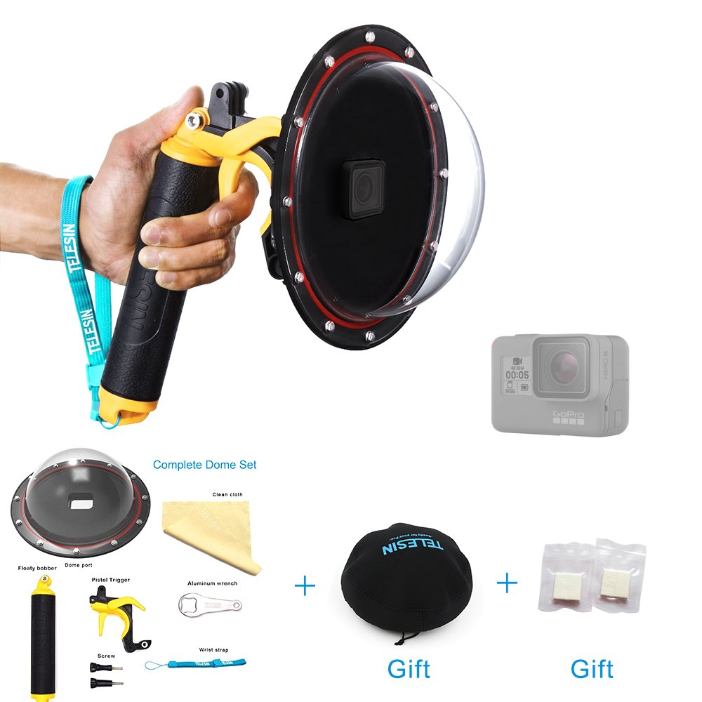 TELESIN 6'' Dome Lend Hood T05 Dome Port for GoPro Hero 2018 Hero 6 Hero 5 Black, Underwater Shooting Dome with Waterproof Diving Housing Case, Floating Hand Grip and Pistol Trigger Gadget Accessories by TELESIN