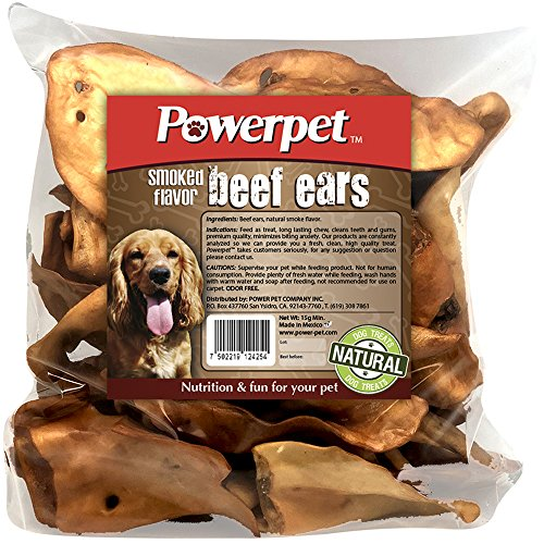 Powerpet: Beef Ears - Natural Dog Chew - Helps Improve Dental Hygiene - 100% Natural & Highly Digestible - Helps Keep Your Dog Healthy & Happy by Powerpet