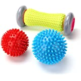 Foot Massager Roller & Spiky Balls - Rightwell® Muscle Roller Stick for Plantar Fasciitis - Wrists and Forearms Exercise Roller for Arm Pain-Heel & Foot Arch Pain Relief(1 Roller+2 Balls)