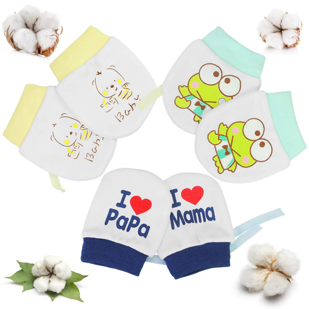 SNAGAROG 3 Pairs Newborn Baby Mittens Organic Cotton Baby Mittens Infant Toddler Boys Girls Adjustable Mittens with Drawstring Anti Scratch for Baby Care 0-6 Months