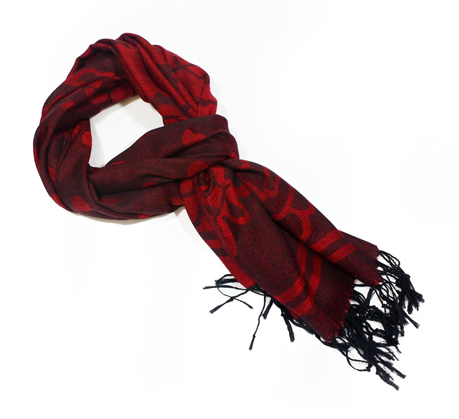 Fashion Dimensions Red Dotted Rose Fashion Pashmina Scarf