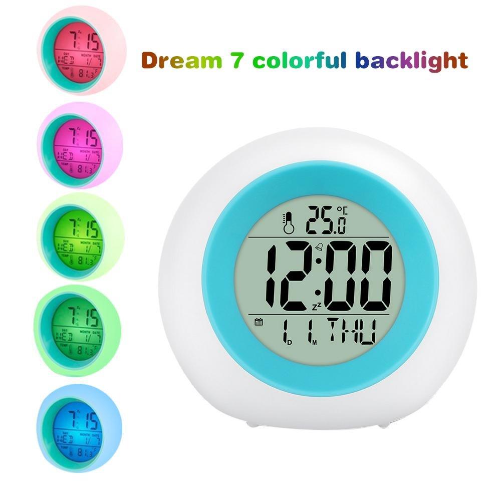 luce Sveglia,Orologio Sveglia con Luce di Colore , Display a LED con Tempo, Data, Temperatura, Funzione Snooze per i bambini adulti gli adolescenti