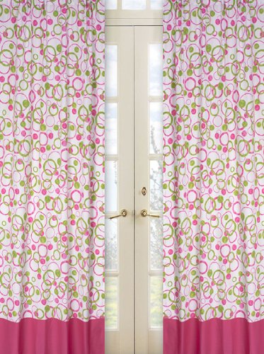 Circles Pink and Green Window Treatment Panels -Set of 2 (And Curtains Pink Green)