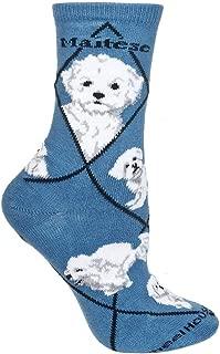 product image for Wheel House Designs Maltese Puppy Womens Argyle Socks (Shoe size 6-8.5)