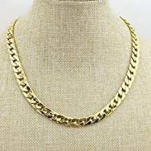 Tool Gadget Fake Gold Chain Necklace, Super Luxury and Looks So Real. Stainless Steel Gold Flat Chain Curb Chains 10mm (24 inches), Fake Gold Coating Never Fade