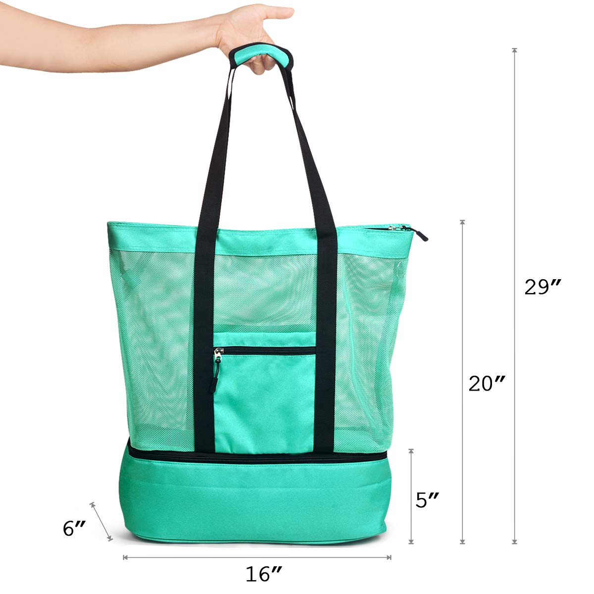 LYH Mesh Beach Bag and Totes Insulated Picnic Cooler Pool Bag with Zipper Top for Women Kids Student,(Green)