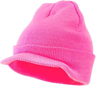 Neon Hazard Bright Hot Pink Knit Beanie Stocking Ski Jeep Cap Winter Billed Cadet Hat