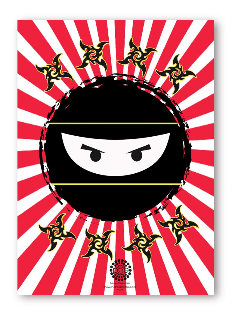 20 Envelopes POP parties Ninja 20 Invitations 20 Invitations Karate Ninja Party Supplies Double Sided