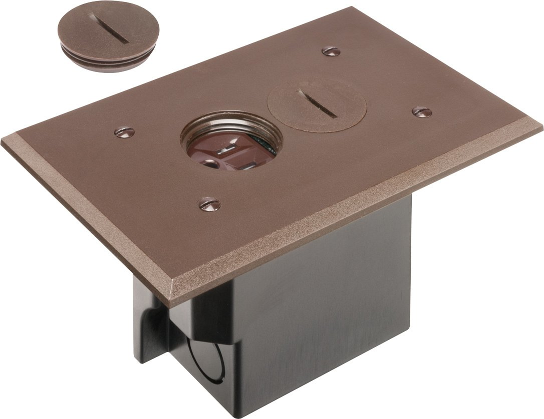 Great Arlington FLBR101BR 1 Floor Electrical Box Kit With Outlet And Plate, For  Installed Floors, 1 Gang, Brown, 1 Pack   Switch And Outlet Plates    Amazon.com