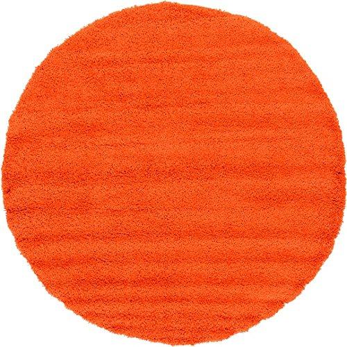 Unique Loom Solid Shag Collection Tiger Orange 8 ft Round Area Rug (8' 2