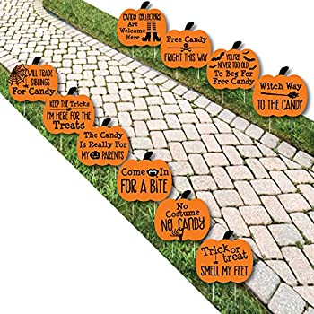 Funny Trick or Treat - Pumpkin Lawn Decoration Signs - Outdoor Halloween Yard Decorations - 10 Piece