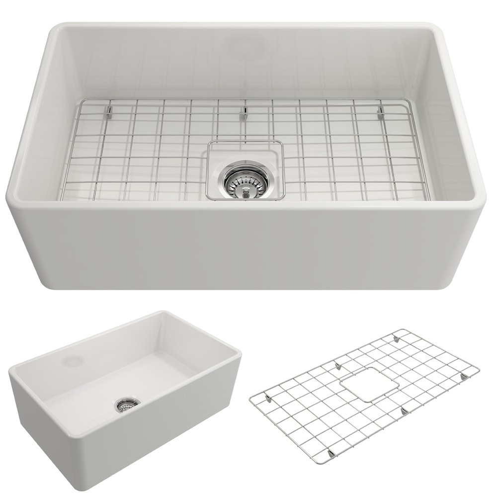 BOCCHI 1138-001-0120 Classico Apron Front Fireclay 30 in. Single Bowl Kitchen Sink with Protective Bottom Grid and Strainer in White by BOCCHI