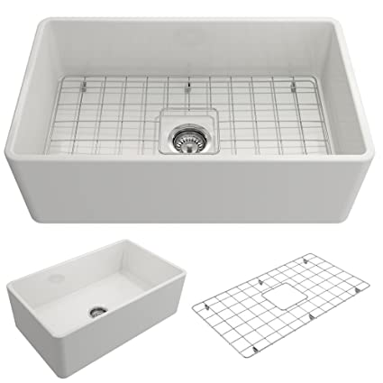 Classico Farmhouse Apron Front Fireclay 30 In. Single Bowl Kitchen Sink  With Protective Bottom Grid