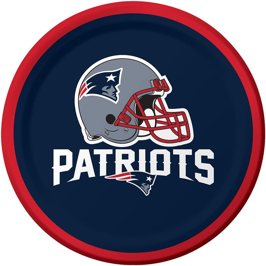 Creative Converting Officially Licensed NFL Dessert Paper Plates, 96-Count, New England Patriots