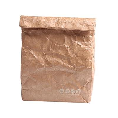 Zhhlaixing 6L Kraft papier Isolé Sac à lunch Sac de pique-nique Réutilisable Imperméable et Ignifuge Respirant Adapté pour Pique-nique Shopping Sac de rangement de lait de Déjeuner de