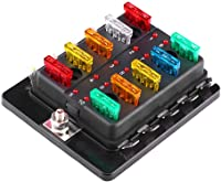 amazon best sellers best automotive replacement fuse boxesqiilu 10 way blade fuse block box holder with led indicator 12v 32v for car