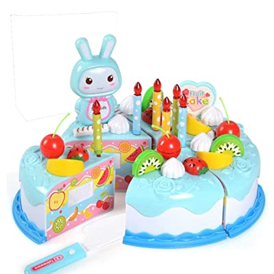Batteraw Party Cake,Birthday Cake Pretend Play Food Toy Set,Children's Day Gift DIY Cutting Cake Blue: Clothing