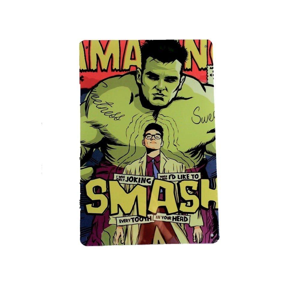 DiiliHiiri Cartel de Chapa Vintage Decoración, Letrero A4 Estilo Antiguo de metálico Retro - Smash Hulk