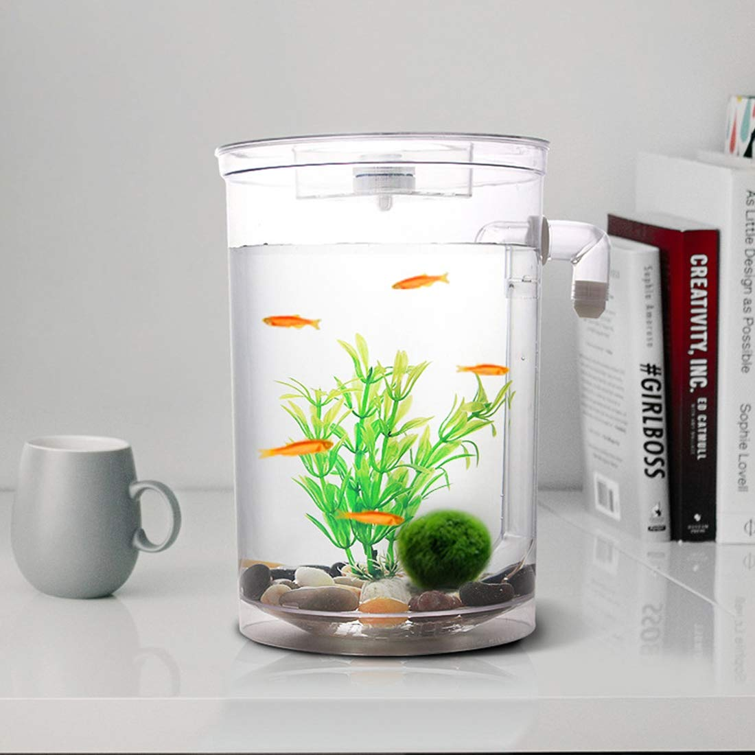 JUUANFDFINGD Fish Tank Decoration Round Plastic Creative Ecological Desktop Mini Aquarium Gold Fish Bowl, Lazy Water Tank with Cobblestone, Tree Plant Grass and LED Light Aquarium Décor by JUUANFDFINGD