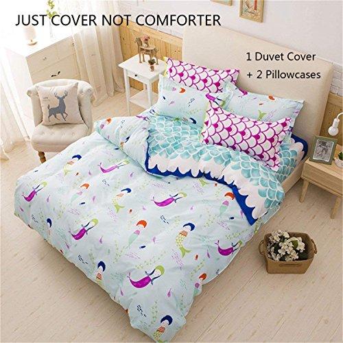 Lemontree Mermaid Bedding Set - Girls tender Duvet Cover Set -NOT COMFORTER JUST COVER- Blue Wave smaller Mermaid Pattern,Hypoallergenic,Microfiber,1 Duvet Cover+2 Pillowcases(Twin,# 01)