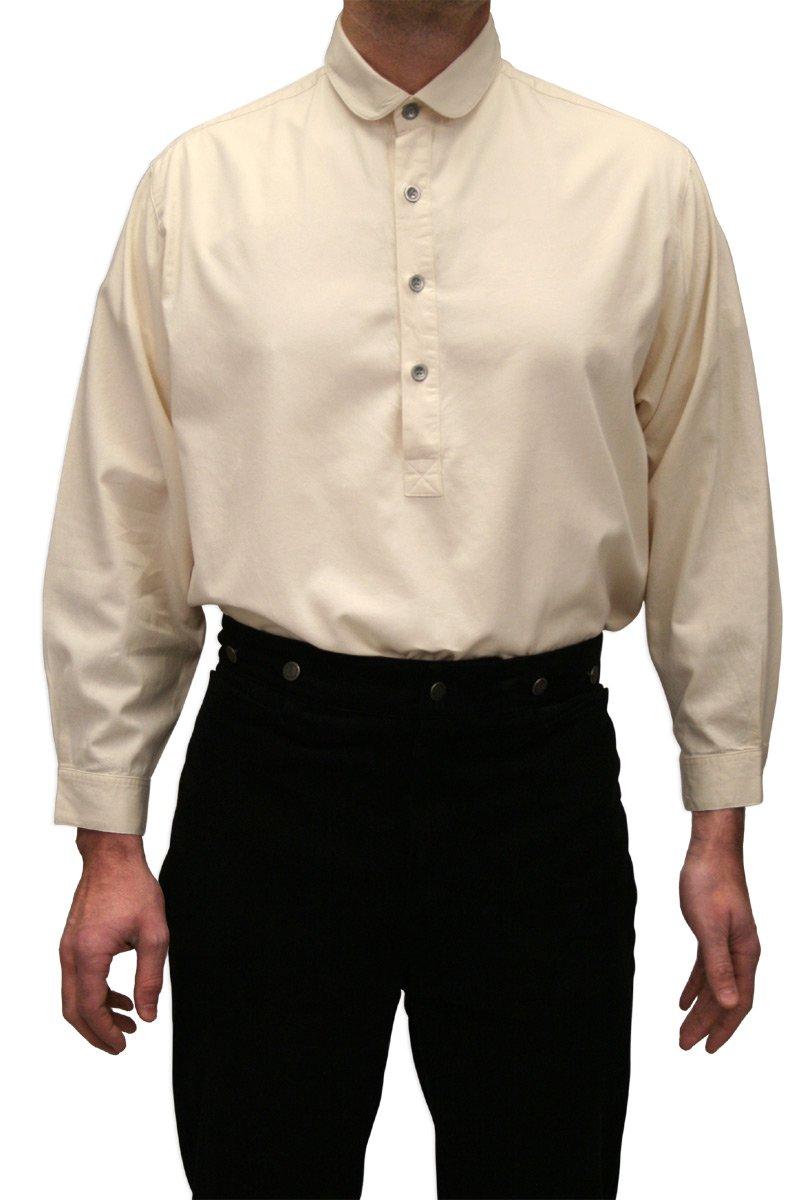Historical Emporium Men's Edwardian Round Club Collar Dress Shirt M Natural by Historical Emporium
