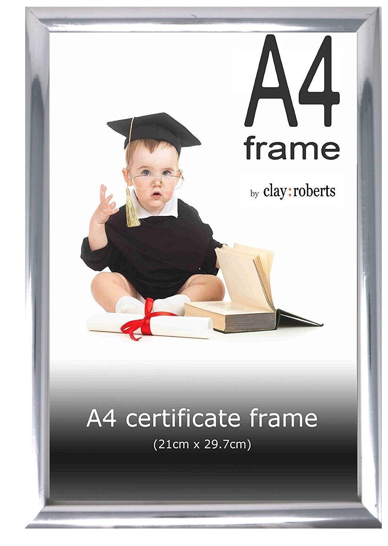 Clay Roberts Cadre Photo Noir A4 Cadre de Certificat//Dipl/ôme//Documents 21cm x 29,7cm Autoportant et Fixation Murale