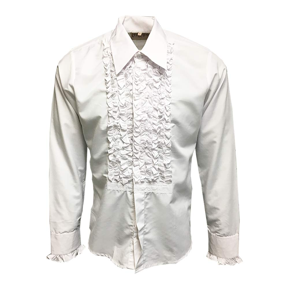 special buy for sale skilful manufacture ZenRetro Mens Ruffle Ruche Frill Dinner Tuxedo Shirt