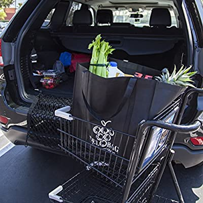 Extra Large Reusable Grocery Bags Set Of 5 By NELOBAG - Heavy Duty Collapsible Folding Shopping table Hand Tote Bags For Men & Women Comfortable Handles Large Capacity Portable Shopper Bags Black