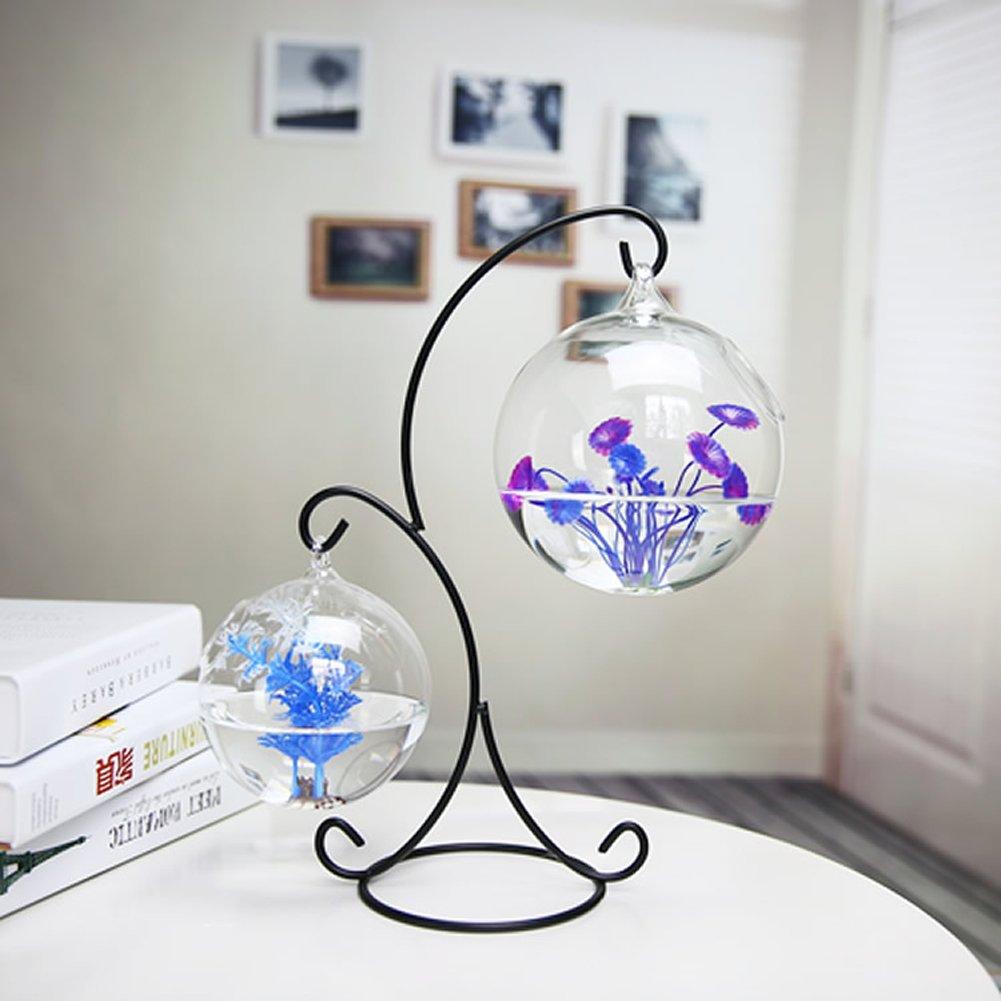 1 JIANGU creative fish tank, hanging glass transparent fish tank, succulent fish tank, small glass fish tank, mini fish tank