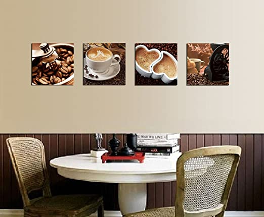 Amazon.com: Kitchen Canvas Art Coffee Bean Coffee Cup Canvas Prints Wall Art  Decor Framed Ready To Hang   4 Panels Modern Artwork Painting Contemporary  ...