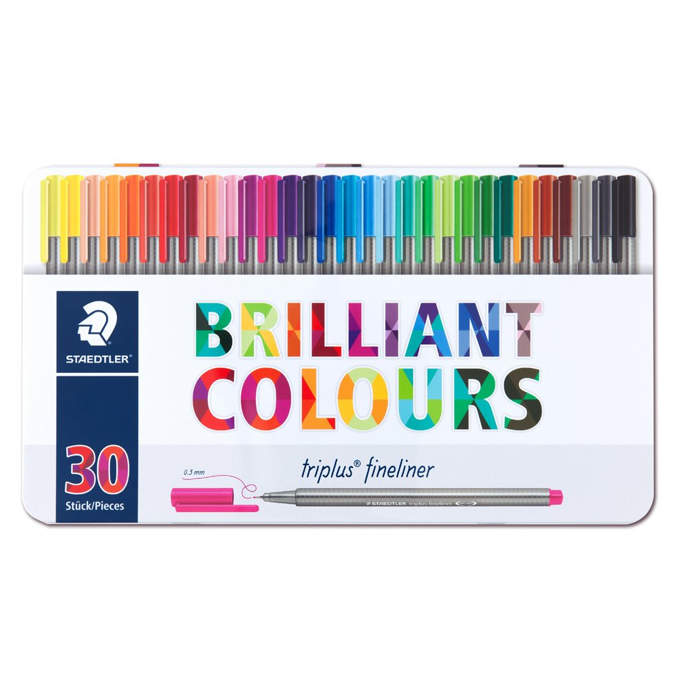 Staedtler Triplus Fineliner Pens - Metal Gift Tin of 30 Brilliant Colours - 0.3mm