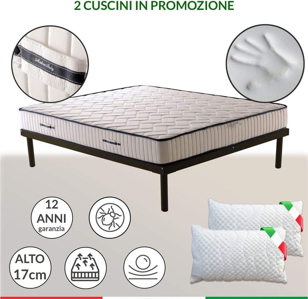 Colchón anatómico EVA de 17 cm de altura con espuma viscoelástica y poliuretano + almohada de espuma viscoelástica. 170_x_200_cm_+_2_Cuscini_Memory