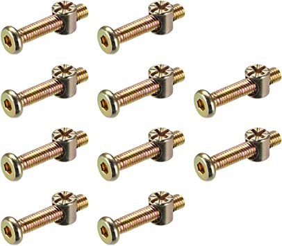 uxcell M6x100mm Furniture Bolt Nut Set Hex Socket Screw with Barrel Nuts Phillips-Slotted 10 Sets