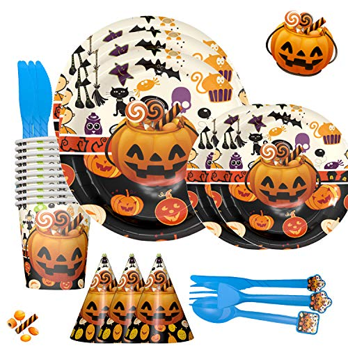 Halloween Party Tableware Set,Serves 6,90 Pieces - Birthday Party Decorations Tableware for Kids - Disposable Table Cover, Plates, Cups, Napkins, Utensils & Happy Birthday Banner
