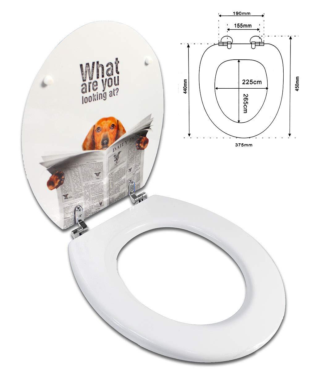 Cane con giornale Vetrineinrete/® Copriwater universale in legno MDF serigrafato tavoletta da bagno wc con stampa con cerniere 44 x 37.5 cm A51