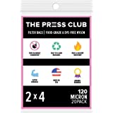 "120 Micron | Premium Nylon Tea Filter Press Screen Bags | 2"" x 4"" | 20 Pack | Zero Blowout Guarantee | All Micron…"