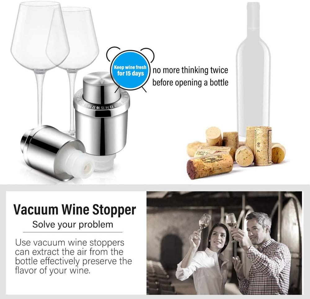 GiniHomer Stainless Steel Vacuum Wine Stoppers with Time Scale Record Vacuum Beverage Bottle Saver with Inner Rubber Sealer Pump Cup Wine Stoppers