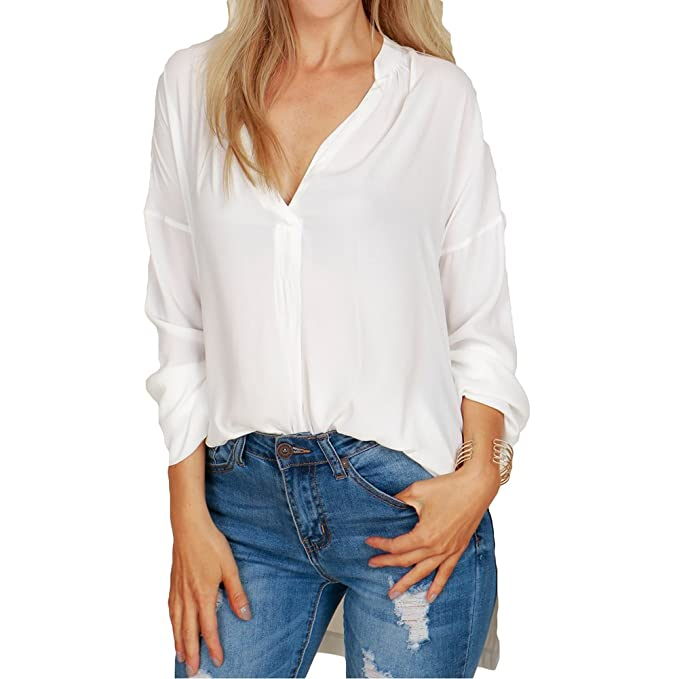junkai Blusa para Mujeres - Chifón Camisas Mujeres V Escote Manga Larga Blusas Camisa Holgada de