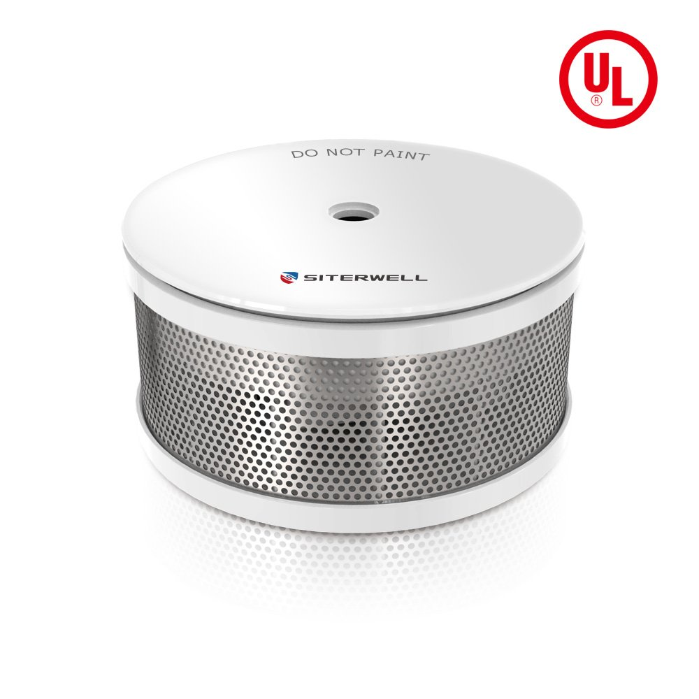 SITERWELL Mini Smoke Alarm 10-Year Photoelectric Smoke Detector and Battery Operated Fire Alarm Build-in Lithium Battery with Test/Silence Button (GS521C)