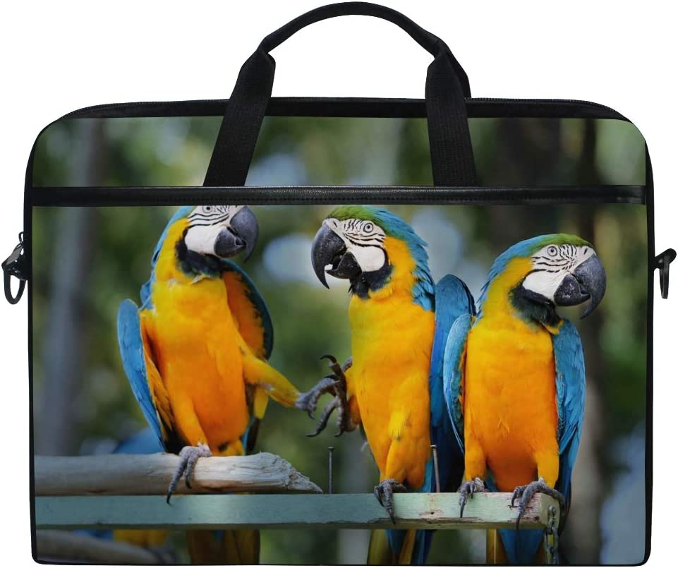 Jiayangzi Beautiful Macaw Parrots Laptop Case Laptop Shoulder Bag Messenger Bag Lightweight Notebook Sleeve Carrying Case with Strap for Business Casual School