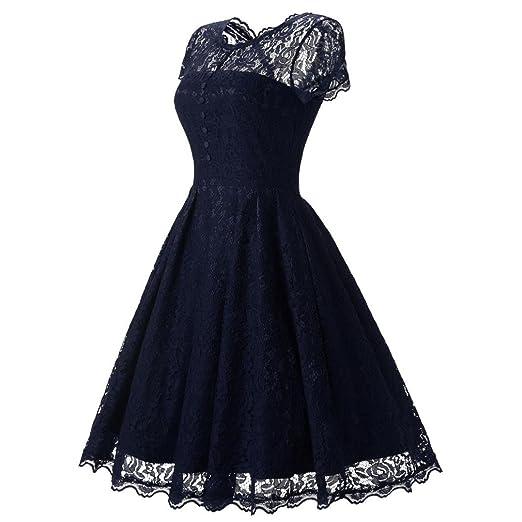 Vestidos largos mujer, Amlaiworld Mujer encaje floral de manga corta Vintage Vestido Señoras fiesta Swing Vestido de Dama de honor vestidos largos de noche ...