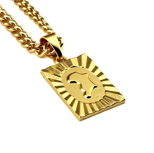 5e5ed1ab09d92 Grenf Fashion 18k Gold Plated Mens Hip-hop African Map Necklace with ...