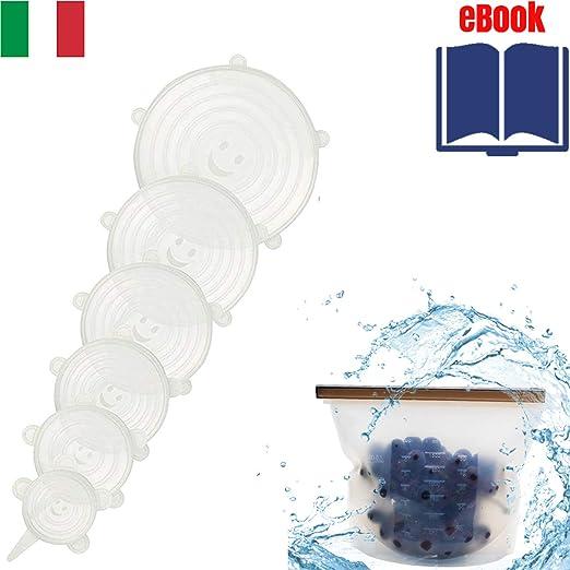 Tapas Silicona Ajustables Cocina Universal Elásticas 6 Set ...