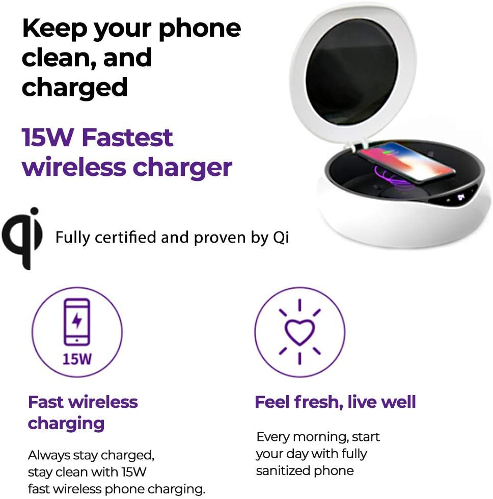 Watches 15W Fast Wireless Charger Glasses Wallets Multi-Use Functional for All Smartphones Keys in House and Office Jewelry Cell Phone Rotating Cleaner with Purple Lights
