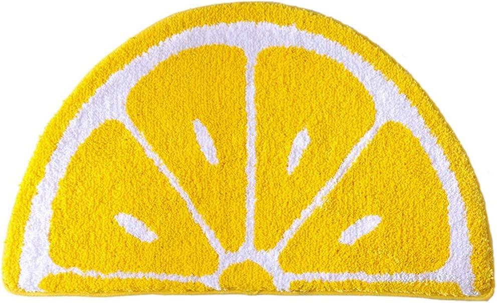 WINLIFE Kitchen Door Mat Yellow Semicircle Fruit Lemon Mat Non Slip Water Absorption Rug for Bathroom, 19.7 x 39.3 Inches