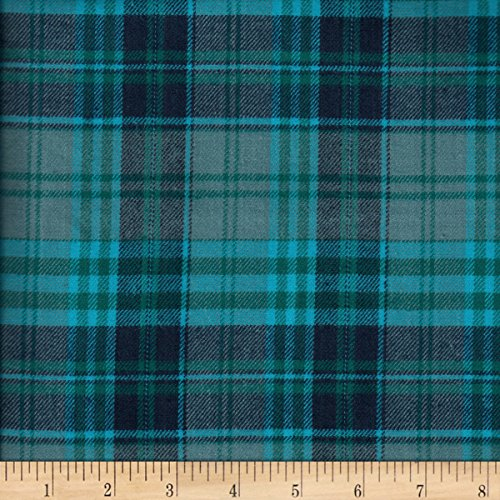 Textile Creations Windstar Twill Flannel Plaid Teal/Navy Fabric by The Yard ()