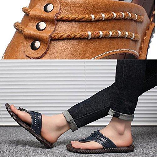 Soft Flop Uomo Fashion TPR Mr Suola per Summer Flip LQ Beach Daily Sandali Blue Leather qZwwHIx4U